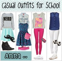 """""""Casual Outfits for School"""" by teenagertips ❤ liked on Polyvore"""