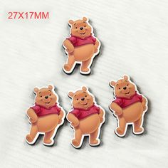50pcs/lot 27*17MM New Cartoon Winnie The Poo Bear Resin Flatback For Hair Bow Kawaii Planar Resin for DIY Home Decoration DL-031