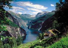 View of Geirangerfjord, Norway. The Geiranger and Nærøy fjords are Norway's only natural heritage sites featuring on the UNESCO World Heritage List.