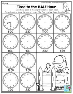 Time to the Half Hour- Telling time couldn't be more fun! This one is in the April NO PREP Packet for First Grade.Time to the Half Hour- Telling time couldn't be more fun! This one is in the April NO PREP Packet for First Grade. Teaching First Grade, Teaching Time, Teaching Math, Teaching Spanish, Maths, Kids Math Worksheets, 1st Grade Worksheets, Math Activities, Learning Cursive