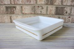 Vintage Pyrex white with gold band stripe baking dish casserole dish