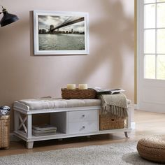 Shop The Gray Barn Waggoner White Upholstered Storage Bench - On Sale - Overstock - 22822657 Padded Bench, Upholstered Storage Bench, Condo Decorating, Cushion Fabric, White Furniture, Engineered Wood, Open Shelving, Small Living, Seat Cushions
