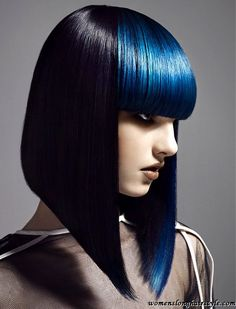 Modern bowl long black hairstyles with bangs