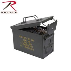 Rothco's Mil Spec Ammo Cans are constructed with a cold rolled steel the cans feature a heavy duty latch with drop down handle. These ammo cans are great for storing ammo, survival supplies and outdoor gear.