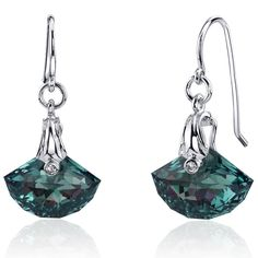 12 Carats Simulated Alexandrite Earrings Sterling Silver Rhodium Nickel Finish Shell Cut