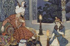 """Léon Carré - illustration """"Le roi ne fut pas fâché d'entendre le conte de Shaharazade."""" (in """"Les Mille et Une Nuits"""", """"Histoire du marchand avec l'éfrit"""", 1926-1932)"""