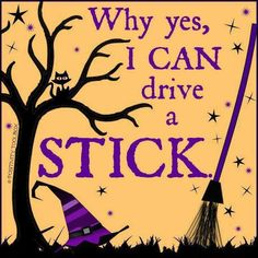 "Magick Wicca Witch Witchcraft: humor ~ ""Why, yes, I can drive a stick. Halloween Jokes, Cute Halloween, Halloween Cards, Holidays Halloween, Halloween Decorations, Halloween Ideas, Halloween Stuff, Haunted Halloween, Halloween Images"