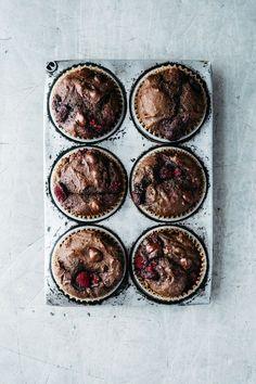 Chocolate, Raspberry, Buckwheat Muffins | TENDING the TABLE