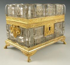 19thc French Baccarat Cut Crystal & Gilt Bronze Scent Casket / 6 Perfume Bottles