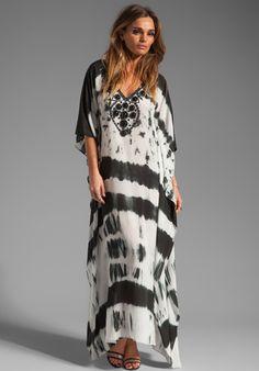 KARINA GRIMALDI Nassau Long Caftan in Black and White Tie Dye at Revolve Clothing - Free Shipping!