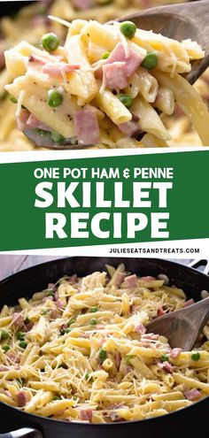 ONE POT HAM & PENNE SKILLET RECIPE - Ham - Ideas of Ham - Looking for leftover ham recipes? This One Pot Ham & Penne Skillet is the perfect one to use! It has diced ham penne pasta and peas in a creamy sauce. It makes a quick and easy one-pot meal. Ham Dishes, Pasta Dishes, One Pot Dishes, Leftovers Recipes, Easy Dinner Recipes, Meals Good For Leftovers, Leftover Ham Recipes Pasta, Recipes For Leftover Ham, Leftover Ham Casserole
