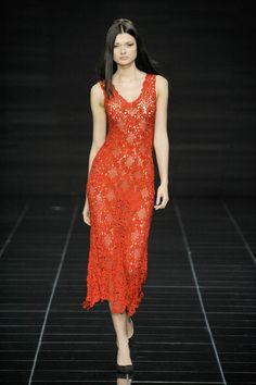 红色钩针长裙 - 蕾妮 - 蕾雨轩