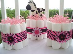 Diaper Cake Black & Pink Zebra -Set of 3 small cakes-Baby Shower Gift/Centerpieces