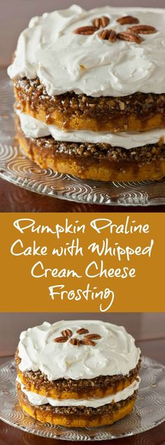 This easy pumpkin cake will be a hit at your Thanksgiving dessert table. It's a simple pumpkin cake with yellow cake mix and canned pumpkin made even better with pecan praline topping. This beautiful and delicious Betty Crocker pumpkin praline cake is perfect for the holidays and it's made even better than the original with homemade whipped cream cheese frosting. | pinchmysalt.com