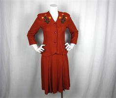 Vintage 1940s Suit with Applique, Sz S, M