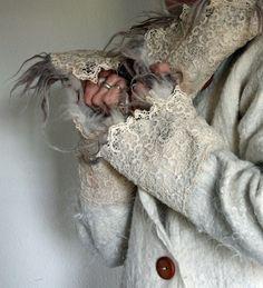 wet felted jacket with merino, alpaca and old laces by Brita Stein http://brita-stein.blogspot.ch/