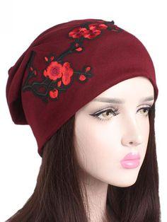 Rojo Turbante De Imitación Cachemira Con Dibujo