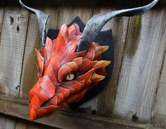 Not a big fan of the dragon head mounted on the wall concept, but this is a truly amazing creation! Dragon Mask, Dragon Head, Leather Armor, Leather Mask, Puppet Costume, Cardboard Sculpture, Forearm Tattoo Design, Dragon Crafts, Leather Carving