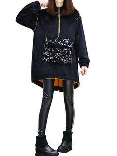 Women Fashion Sequins Embellished Hooded Sweatshirt