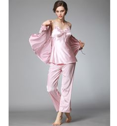ea502bf9af Wholesale 3 Pcs Set Silk Home Clothes For Women pajamas Satin Pyjama Set