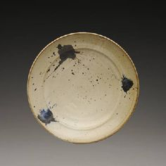 Artist: Warren MacKenzie, Title: Large Bowl with Flange, White with Blue Splatters - click on image to enlarge