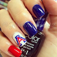 GlitterNailArtist| fun nails in support of UofA Wildcats! Go cats go!   march madness - spring - hand painted - nail art ideas - red, white and blue - U of A logo - wildcats - college basketball