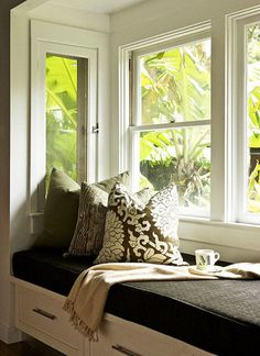 I love bay windows with benches built in... Had one in my room growing up and you could lift the pad up and it opened like a chest for more storage