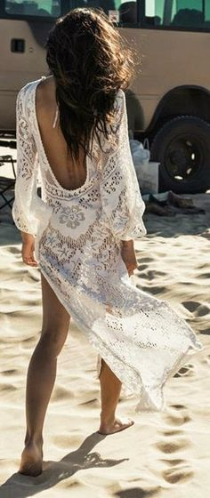 White Lace Backless Cover Up