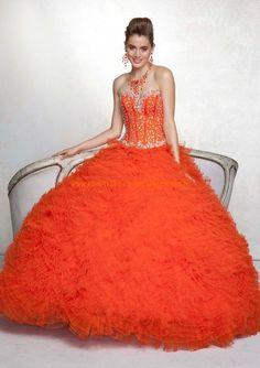 Festliches Abendkleid aus Organza für Prinzessin mit Perlenstickerei online 2013