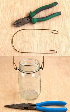 Magical DIY Hanging Mason Jar Lights (Easiest Ever!) - Easiest DIY hanging mason jar lights using dry cleaners wire hangers. Great as beautiful home decor - Hanging Mason Jar Lights, Mason Jar Lighting, Mason Jar Lanterns, Solar Hanging Lanterns, Tree Lanterns, Diy Hanging Planter, Jar Candles, Diy Planters, Mason Jar Lamp