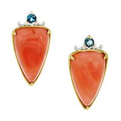 One-of-a-kind Michael Valitutti Palladium Silver Trillion Salmon Bamboo Coral and London Topaz Earrings