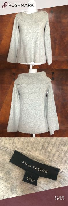Ann Taylor grey cowl neck wool blend sweater small Worn once in like new condition this sweater is soft, stylish, and sophisticated. He oversized cowl neckline makes this classic grey sweater a statement piece. From a smoke free home Ann Taylor Sweaters Cowl & Turtlenecks