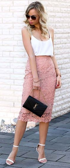 f5b91a7846 Outfit with blush pink lace pencil skirt, white cami top, white single  strap heels