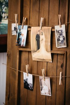 Give your wedding an adorable, personal touch by hanging old family photos on a clothes line.
