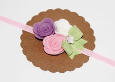 Lavander, Pink and White Wool Felt Rose. Perfect for spring or Easter!