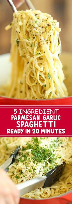 5 Ingredient Parmesan Garlic Spaghetti Ready in 20 Minutes - tastylicious. Garlic Butter Noodles, Parmesan Noodles, Garlic Noodles Recipe, Buttered Noodles, Garlic Parmesan Pasta, Garlic Spaghetti, Spaghetti Recipes, Spaghetti Dinner, Spaghetti Parmesan Recipe