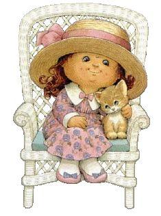 ruth morehead graphics | fille assise dans un fauteuil avec son chat 38
