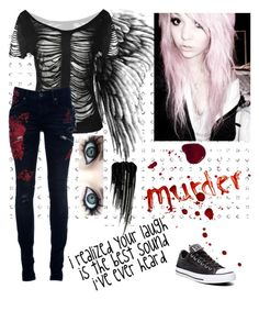 """Murder☠️"" by maddhatterx ❤ liked on Polyvore featuring L.G.B., Converse, Urban Decay and Thinkoftheuniqueones"