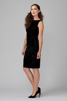 Made of velvety material, this Joseph Ribkoff designed dress has gathers and ruching to one side with a bateau neckline, sleeveless construction and a knee-length hem. Joseph Ribkoff Dresses, Bateau Neckline, Sequin Dress, Designer Dresses, Sequins, Formal Dresses, Black, Style, Fashion