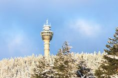 The eatery rises unexpectedly from a forested Finnish hilltop. Map Pictures, Top Travel Destinations, Finland, Tower, Restaurant, Places, Maps, Wanderlust, Houses
