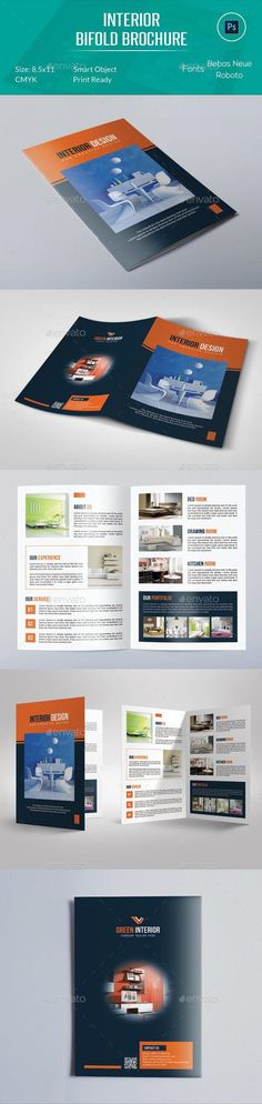 Interior Bifold Brochure Template can be used on any business purpose or others. It is fully editable & easily photo changes optio Bi Fold Brochure, Corporate Brochure, Business Brochure, Brochure Design, Brochure Template, Flyer Design, Stationery Printing, Stationery Design