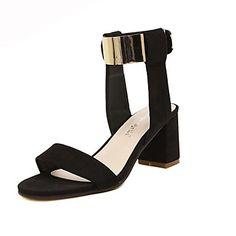 GET IT HERE: GET THE STYLE:  Suede Kvinders chunky hæl sandaler sko (flere farver) – DKK kr. 174