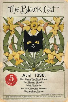 """The Black Cat Magazine,"" April 1898. Cover art by Nelly Littlehale Umbstaetter"