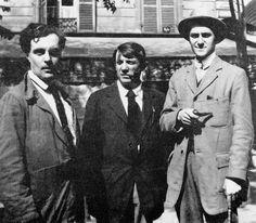 Amedeo Modigliani, Pablo Picasso and André Salmon taken by Jean Cocteau, 1916, Montparnasse, Paris.