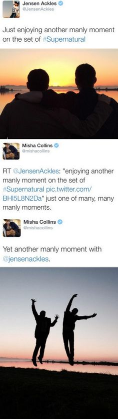 Jensen and Misha, second only to Jensen and Jared in my list of favorite buddies for life pairings
