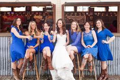 Abby + Brady | Albert Dance Hall Wedding  Amazing! I Love this shade of blue. And the fact that the girls are all in different dresses.
