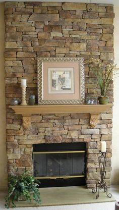 Mettre le feu dans la cheminée pierres vivantes confortable Wanddeko