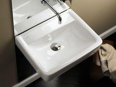 Keramag Renova Nr.1 Plan:  Für modernste Ansprüche: Renova Nr. 1 Plan Waschtische und Handwaschbecken ohne Hahnloch, mit oder ohne Überlauf, in zeitge-  mäß eckigem Design.