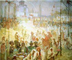 The Coronation of the Serbian Tsar Stepan Dusan as East Roman Emperor - Alphonse Mucha 1926 temera on canvas