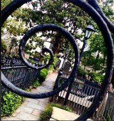 Peeking through the iron gates at St. Michael's Episcopal Church in #Charleston